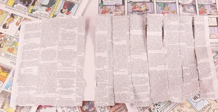 Tear up newspaper strips.