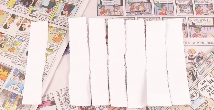 Tear up strips of white paper