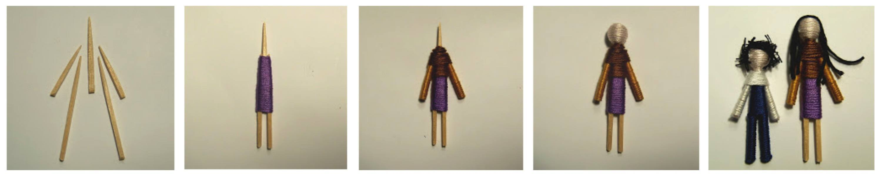 Worry dolls made from toothpicks
